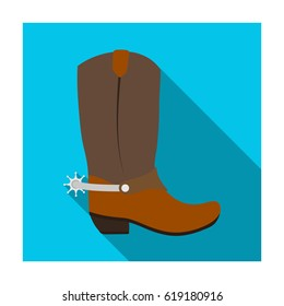 Cowboy boots icon in flat style isolated on white background. Rodeo symbol stock bitmap illustration.