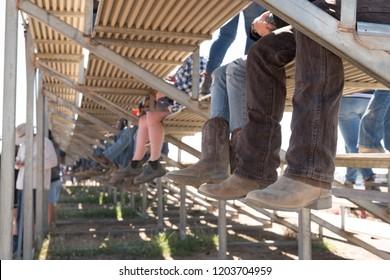 cowboy boots on spectators