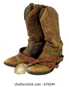 Cowboy boots and silver belt buckle.