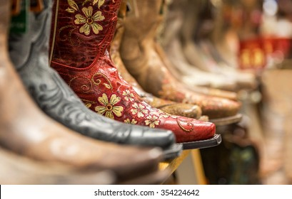 Cowboy boots in a store