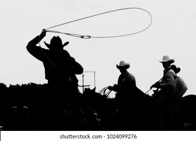 Cowboy Calf Roper Black and White Silhouette