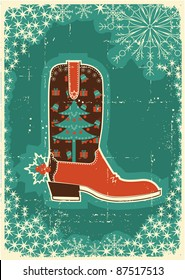 Cowboy christmas  card with boot and holiday decoration on old paper texture