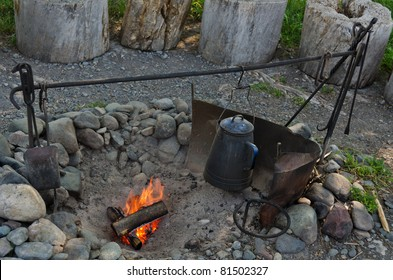 Cowboy coffee as it was made in the late 1800's over an open fire