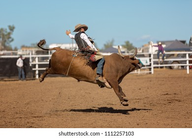 A cowboy competing in a bullriding event at a country rodeo