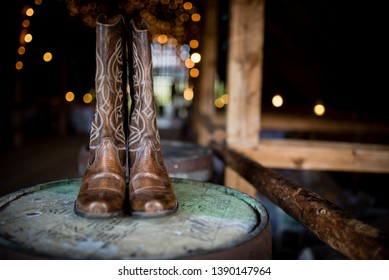 Cowboy cowgirl boots for a rustic country wedding celebration of marriage and love, the perfect shoes footwear for outdoor weddings