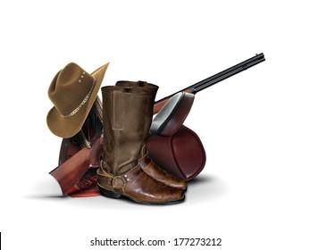 Cowboy Equipment over White