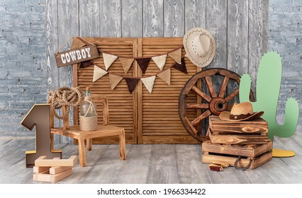 Cowboy first birthday Digital Background. Festive decoration for birthday. Cake Smash first year concept. Texas background. Decor in style of cowboy thematic photo session decoration of studio. - Shutterstock ID 1966334422