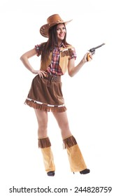 Cowboy girl on white background