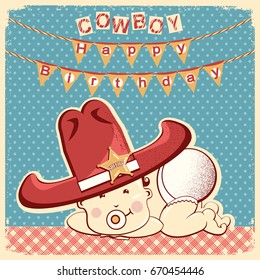 Cowboy happy birthday card with little baby in big western sheriff hat.Raster