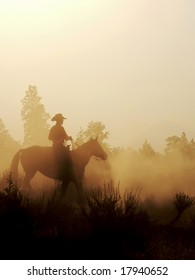 Cowboy and his horse on the early morning light