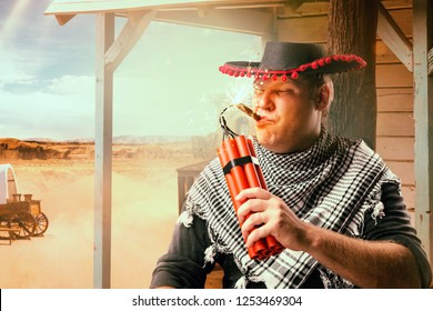 Cowboy lights a cigar from a stick of dynamite