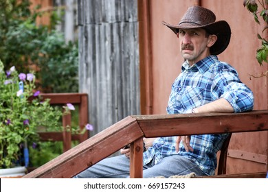cowboy man smoke pipe