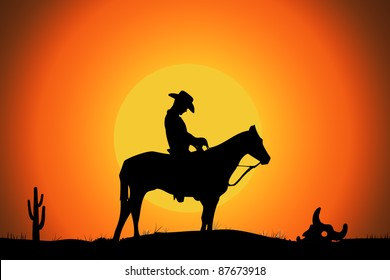 a cowboy on his horse alone in the desert, illustration