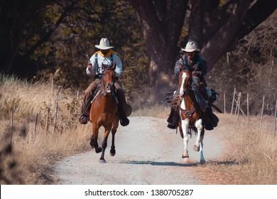 Cowboy on horseback.Cowboy riding horse.