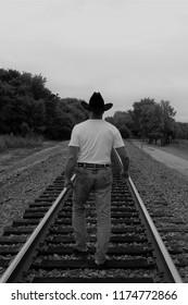 "Cowboy on Train Tracks ""Walkin' Away"""