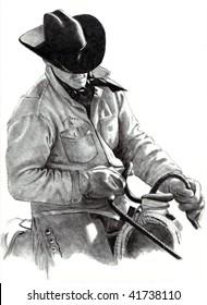 Cowboy Pencil Drawing