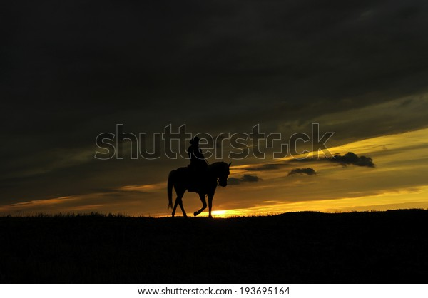 Cowboy rides into the sunset