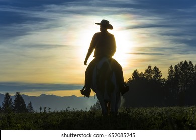 Cowboy riding across grassland in the early morning with mountains in the background, British Colombia, Canada