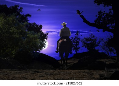 A cowboy riding his horse into the night in a deep blue setting.