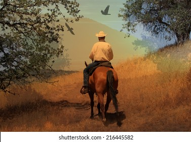 A cowboy riding his horse in the mountains with  crows flying above.