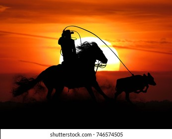 cowboy roping calf at sunset silhouette