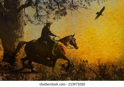 Cowboy running in the mountains on his horse with a crow flying above.