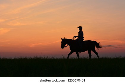 Cowboy shepherd in hat riding horse on colorful cloudy sky at sunset. Silhouette of  cowboy travel in wild west mountain prairie like western film background