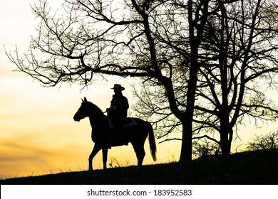Cowboy sitting on horse at sundown