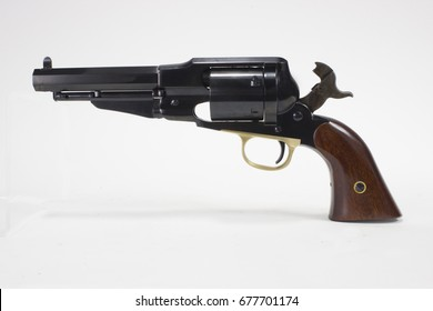 Cowboy six shooter revolver with hammer cocked back