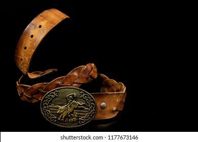 cowboy style leather belt buckle