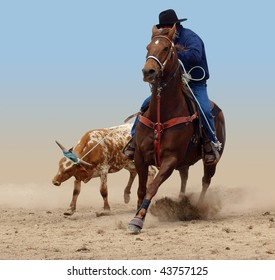 Cowboy Successfully Roping a Steer isolated with clipping path
