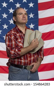Cowboy takes off hat (patriotic), vertical