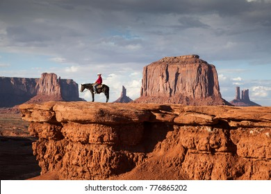 Cowboy at View Point in Monument Valley.