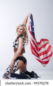 Cowboy women with american flag