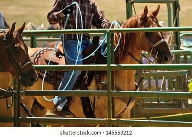 A cowboy works his rope during the team steer roping competition at a small summer rodeo in Oregon