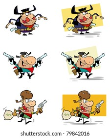 Cowboys Cartoon Characters-Raster Collection