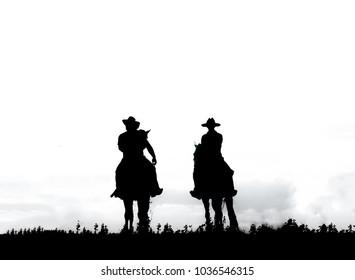 cowboys riding horse