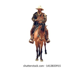 Cowboys riding a horse in white background