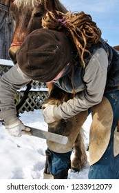 Cowen, West Virginia, Equine podiatrist cleaning and trimming horse hoof on a family farm. December 6, 2009