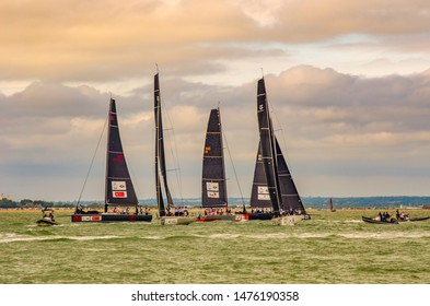 Cowes - the Isle of Wight . England , the 8th of August , view of The  duke and duchess of Cambridge went head to head in the inaugural king's cup regatta off cowes , William and Kate.