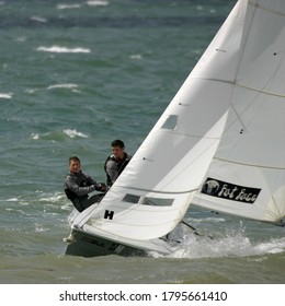 Cowes, Isle of Wight/ England - July 29 2008: Rough conditions for dinghy sailing in Cowes Dinghy Week at Gurnard Sailing Club