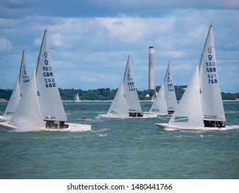 Cowes, Isle of Wight / United Kingdom - August 15 2019: 5 Sailing Boats Compete At Cowes Week 2019 Sailing Regatta On The Solent, Isle of Wight