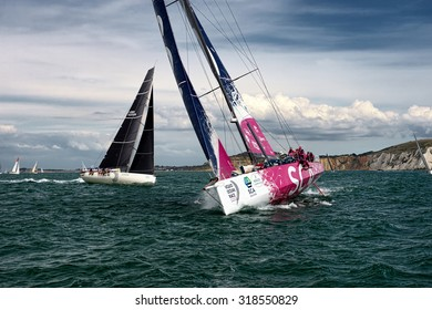COWES, UNITED KINGDOM - AUGUST 16, 2015: Start of sailing yachts in the Rolex Fastnet Race,United Kingdom on AUGUST 16, 2015
