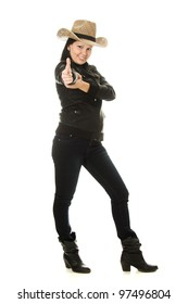 Cowgirl gesture shows okay on a white background.