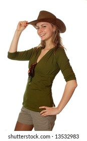 cowgirl posing with a hat green shirt isolated background
