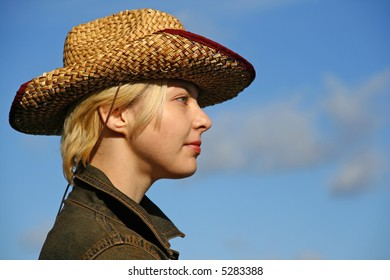 cowgirl in profile