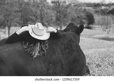 Cowgirl woman lying on Santa Gertrudis cow in farm field.  Concept of friendship between animal and person in black and white.