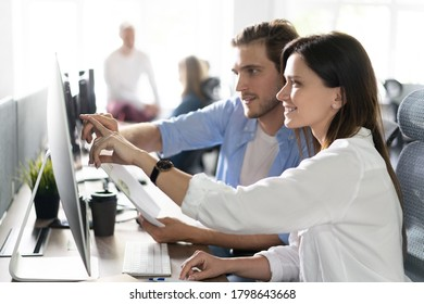 Coworkers team in modern office. Project managers work new idea. Young business crew working with startup studio - Shutterstock ID 1798643668