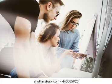 Coworkers Team Working Office Studio Startup.Businessman Using Modern Tablet,Desktop Monitor Wood Table.Bank Managers Market Researching Process.Virtual Digital Diagram Interface Screen.Blurred.
