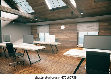 Coworking office room with blank computer display, wooden floor, walls, ceiling and city view. Country style interior. Mock up, 3D Rendering